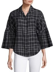 Tome Plaid Button Front Shirt Black White