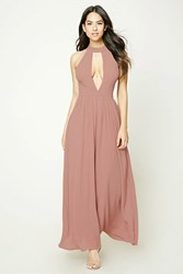 Forever 21 Cutout High Neck Maxi Dress Dusty Pink