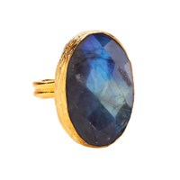 Ottoman Hands Labradorite One Stone Oval Ring Blue Gold Green