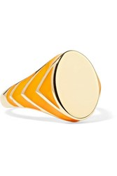 Alison Lou Stripe 14 Karat Gold And Enamel Ring 3