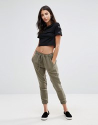 Pam And Gela Moto Lace Up Joggers Khaki Green
