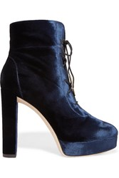 Jimmy Choo Deon Lace Up Velvet Platform Ankle Boots Navy