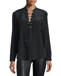 Amanda Uprichard Winslow Lace Up Long Sleeve Top Black