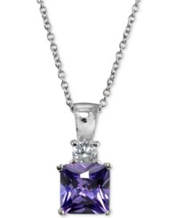 Giani Bernini Cubic Zirconia Square Pendant Necklace In Sterling Silver Created For Macy's
