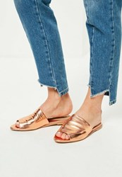 Missguided Rose Gold Peep Toe Slip On Mules Pink