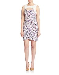 Guess Printed Cutout Sheath Dress Pink Floral Ivory