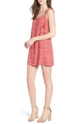 Lush Button Down Minidress Red Ivory