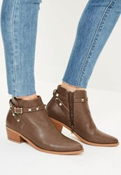 Missguided Brown Studded Strappy Western Boots Taupe