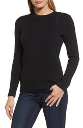 Kenneth Cole Women's New York Zip Shoulder Ribbed Sweater Black