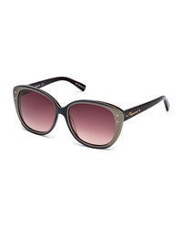 Dsquared2 Studded Plastic Cat Eye Sunglasses Burgundy