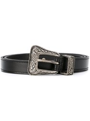 Saint Laurent Western Belt Women Leather 75 Black
