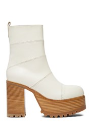 Marni Chunky Leather Ankle Boots Cream