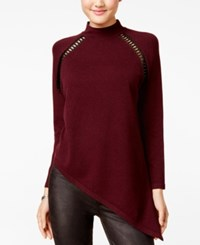 Xoxo Juniors' Asymmetrical Faux Leather Trim Sweater Burgundy