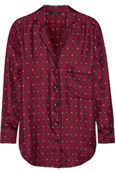 Rag And Bone Gabrielle Printed Silk Twill Shirt Claret