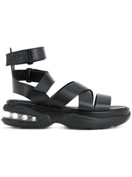 Msgm Cross Over Strap Sandals Women Calf Leather 38 Black