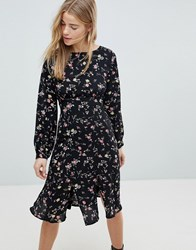 Girls On Film Midi Dress With Front Splits Black Base Floral Navy