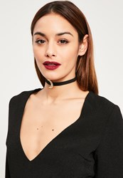 Missguided Black Moon Pendant Choker Necklace Gold