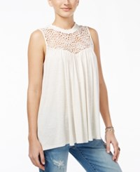 American Rag Juniors' Crocheted Ruffled Neck Top Only At Macy's White