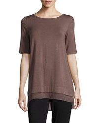 Context Elbow Length Sleeve Top Brown