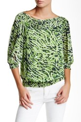 Vertigo Pin Tuck Chiffon Blouse Green