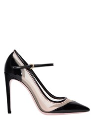 Salvatore Ferragamo 105Mm Erika Mesh And Patent Leather Pumps