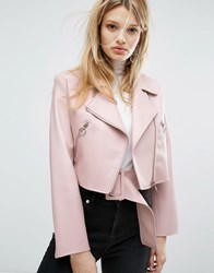 Outstanding Ordinary Faux Leather Jacket With Belt Detail Pink