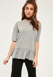 Missguided Grey Peplum Frill T Shirt
