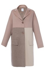 Agnona Cashmere Double Light Color Block Relaxed Coat Pink