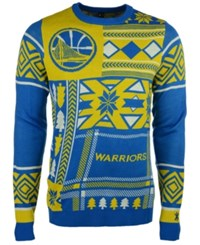 Forever Collectibles Men's Golden State Warriors Patches Christmas Sweater Royal Blue Gold