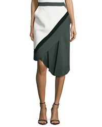 J. Mendel Crepedraped Front Skirt Midnight Forest