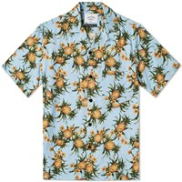 Portuguese Flannel Short Sleeve Ananas Vacation Shirt Blue