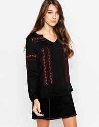 See U Soon Embroidered Tunic Top Black