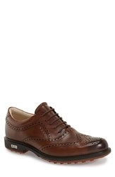 Men's Ecco 'Tour' Hybrid Wingtip Golf Shoe Walnut Leather