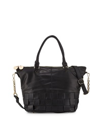 Neiman Marcus Wide Weave Faux Leather Large Satchel Bag Black