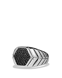 David Yurman Modern Chevron Signet Ring With Black Diamonds Silver Black