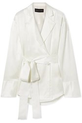 Michael Lo Sordo Belted Double Breasted Silk Satin Shirt Ivory
