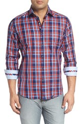 Stone Rose Men's Trim Fit Plaid Sport Shirt Orange