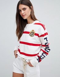 Polo Ralph Lauren Bring It Back Pack Stripe Cropped Sweat White Red Multi