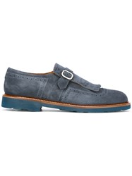 Doucal's Fringed Loafer Shoes Blue