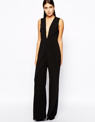 Aq Aq Aq Aq Willow Jumpsuit With Plunge Neck Black