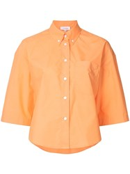 Ck Calvin Klein Poplin Cropped Sleeve Button Down Shirt Yellow And Orange
