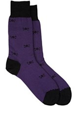 Barneys New York Men's Skull Print Trouser Socks Purple Black Purple Black
