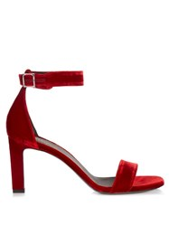 Saint Laurent Grace Velvet Sandals Red