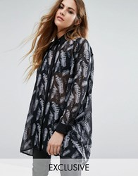 Religion Sheer Shirt In Skeleton Feather Print Black