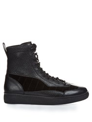Alexander Wang Eden Leather And Suede High Top Trainers Black