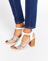 Asos Telescope Wide Fit Heeled Sandals Cream