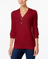 Charter Club Henley Sweater Only At Macy's New Red Amore