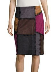 Context Leatherette Patchwork Pencil Skirt Multi