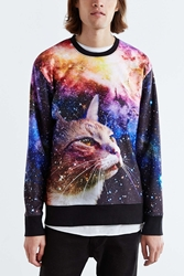 Urban Outfitters Galaxy Cat Crew Neck Sweatshirt Purple