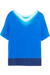 Missoni Ribbed Stretch Knit And Silk Blend Top Blue